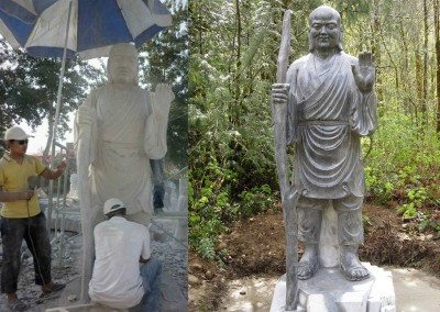 Carving and polishing Stoned statue of Fenggan in China