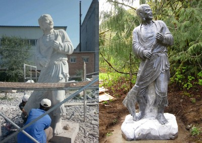 Carving and polishing Stoned statue of Shide in China