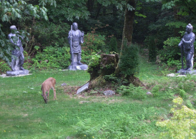 The Three Sages Stoned-Statues of T'ien T'ai - by the Arhat Path Entrance