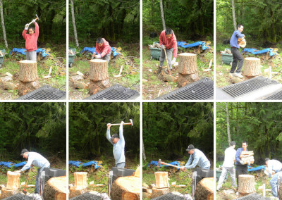 (fom top left to right and bottom left to right) Ling Feng, Alex and Peter, Alex working on woods