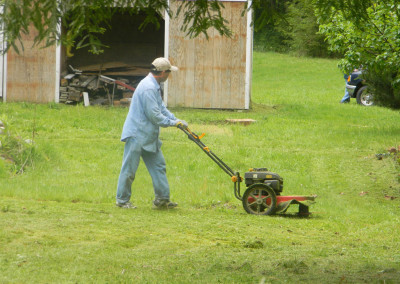 Tom mowing the lawn