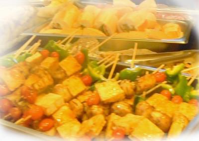 Vegetarian tofu-kabobs and Vietnamese vegetarian pâté sandwich