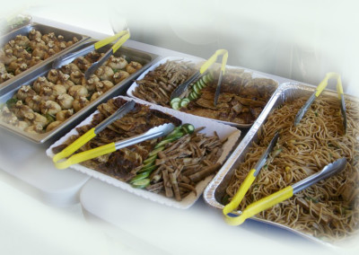 (left to right) Tofu Pouches Treasures, Marinated Tofu skins, Bamboo shoots, and noodle