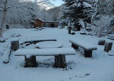 Campfire under November 29 snow, 2014.