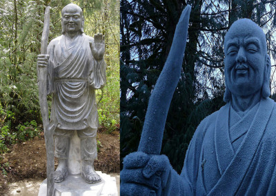 "Fenggan literally ""Big Stick""; lived at Kuoch'ing Monastery during the Tang Dynasty; the oldest of the T'ian T'ai Trio; resided behind the library of the monastery where he would hull rice and chant sutras.  He is said to be an emanation of Amitabha Buddha (the Buddha of Infinite Light)"