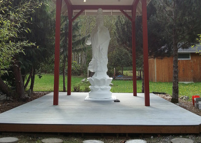 Gwan Shr Yin Bodhisattva Platform and Roof - Mission Accomplished!